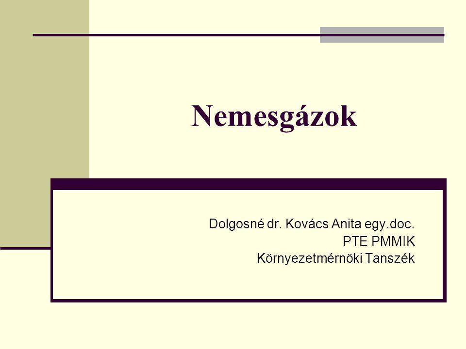 Nemesgázok Dolgosné dr. Kovács Anita egy.doc. PTE PMMIK Környezetmérnöki Tanszék