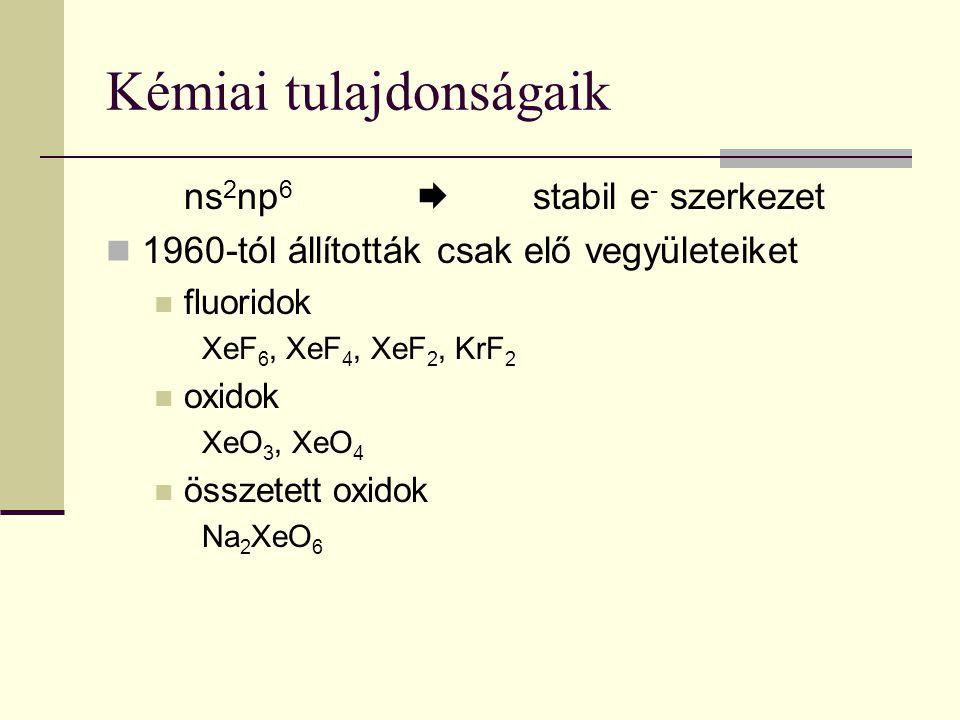 Kémiai tulajdonságaik ns 2 np 6  stabil e - szerkezet 1960-tól állították csak elő vegyületeiket fluoridok XeF 6, XeF 4, XeF 2, KrF 2 oxidok XeO 3, X