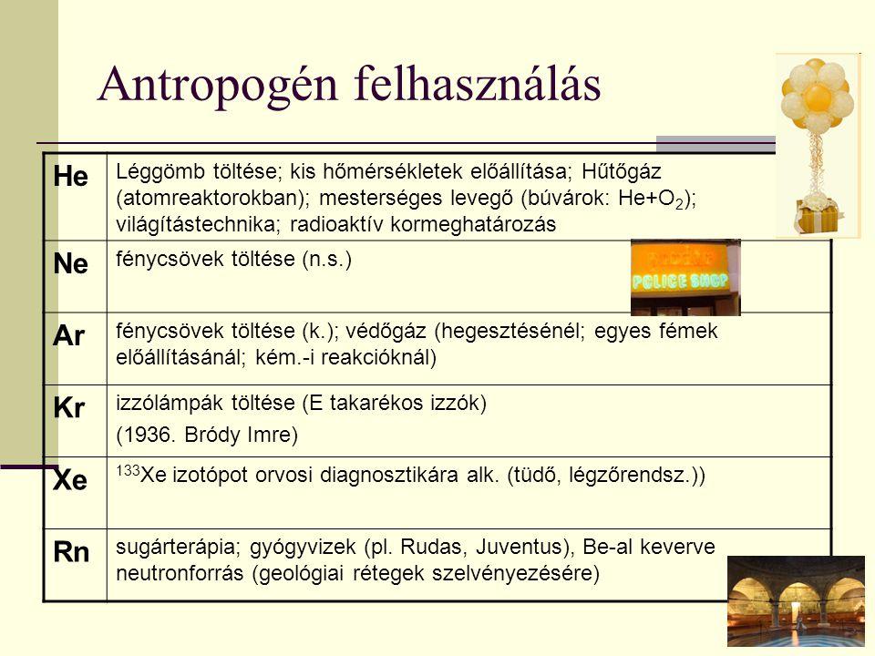 Antropogén felhasználás He Léggömb töltése; kis hőmérsékletek előállítása; Hűtőgáz (atomreaktorokban); mesterséges levegő (búvárok: He+O 2 ); világítá