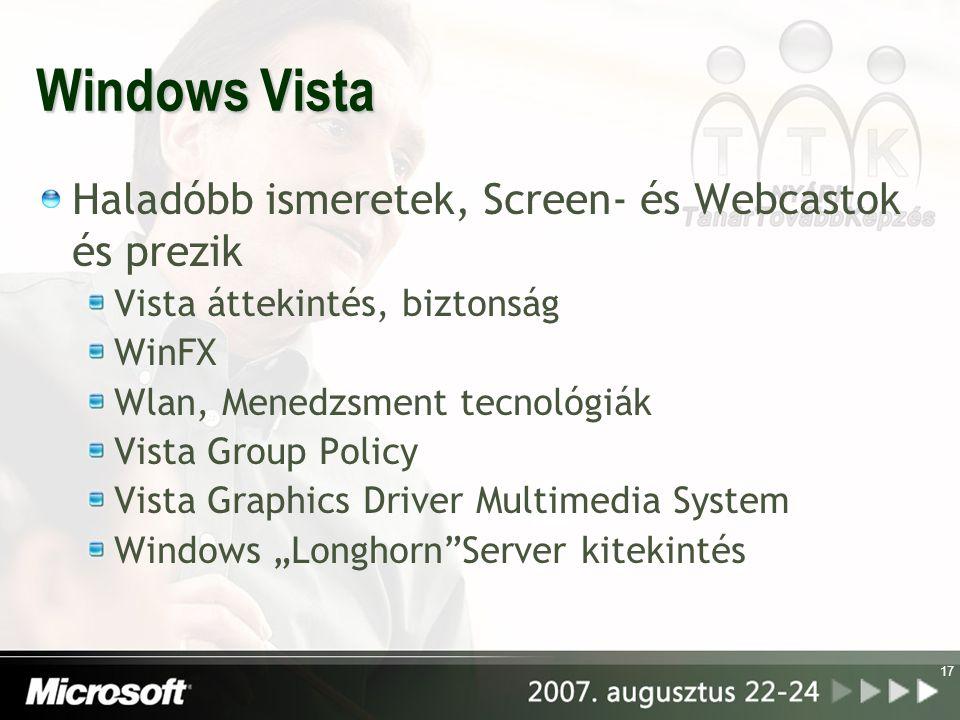 17 Windows Vista Haladóbb ismeretek, Screen- és Webcastok és prezik Vista áttekintés, biztonság WinFX Wlan, Menedzsment tecnológiák Vista Group Policy