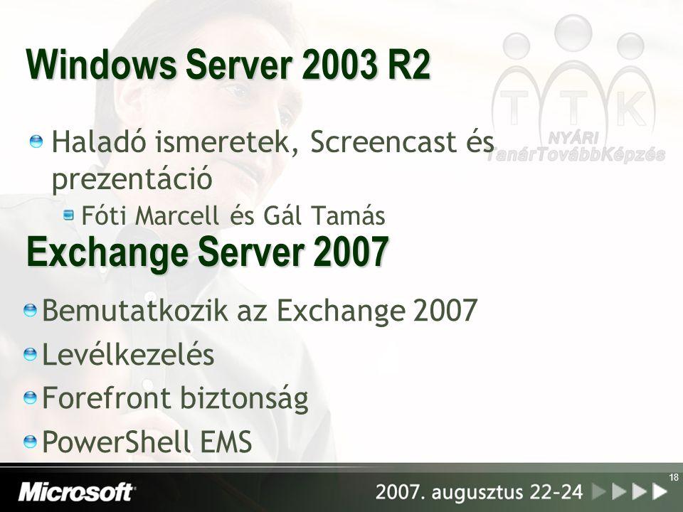 18 Windows Server 2003 R2 Haladó ismeretek, Screencast és prezentáció Fóti Marcell és Gál Tamás Exchange Server 2007 Bemutatkozik az Exchange 2007 Lev