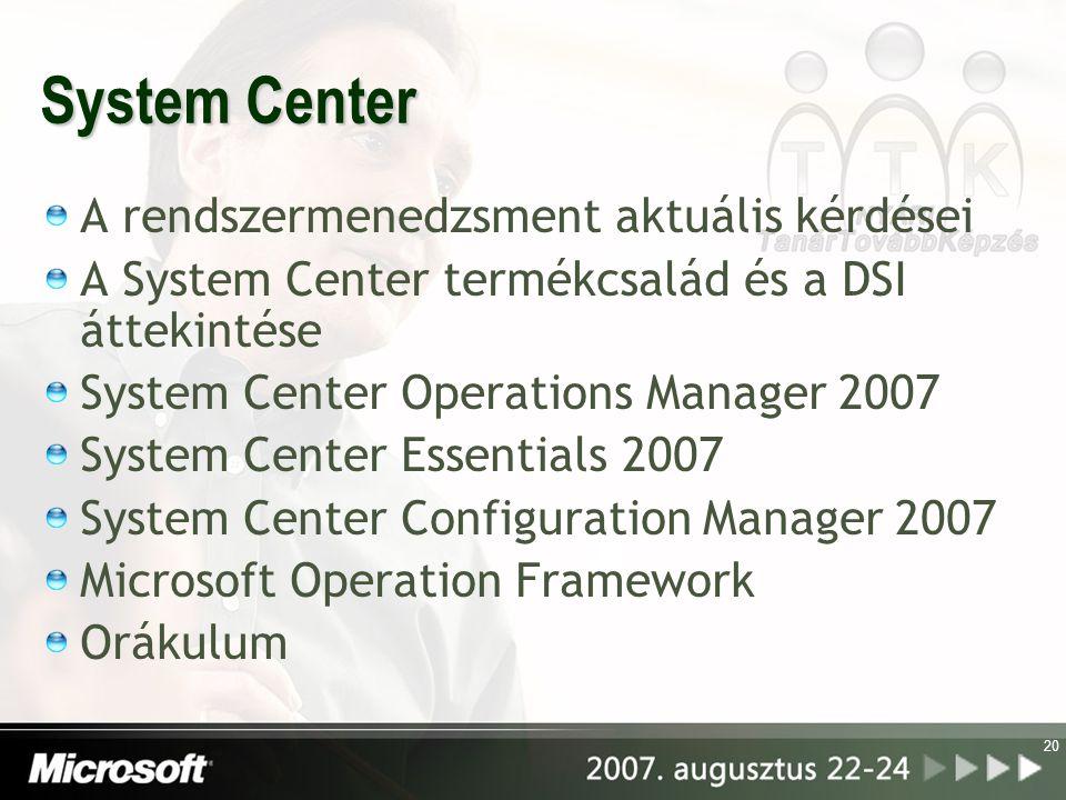 20 System Center A rendszermenedzsment aktuális kérdései A System Center termékcsalád és a DSI áttekintése System Center Operations Manager 2007 Syste