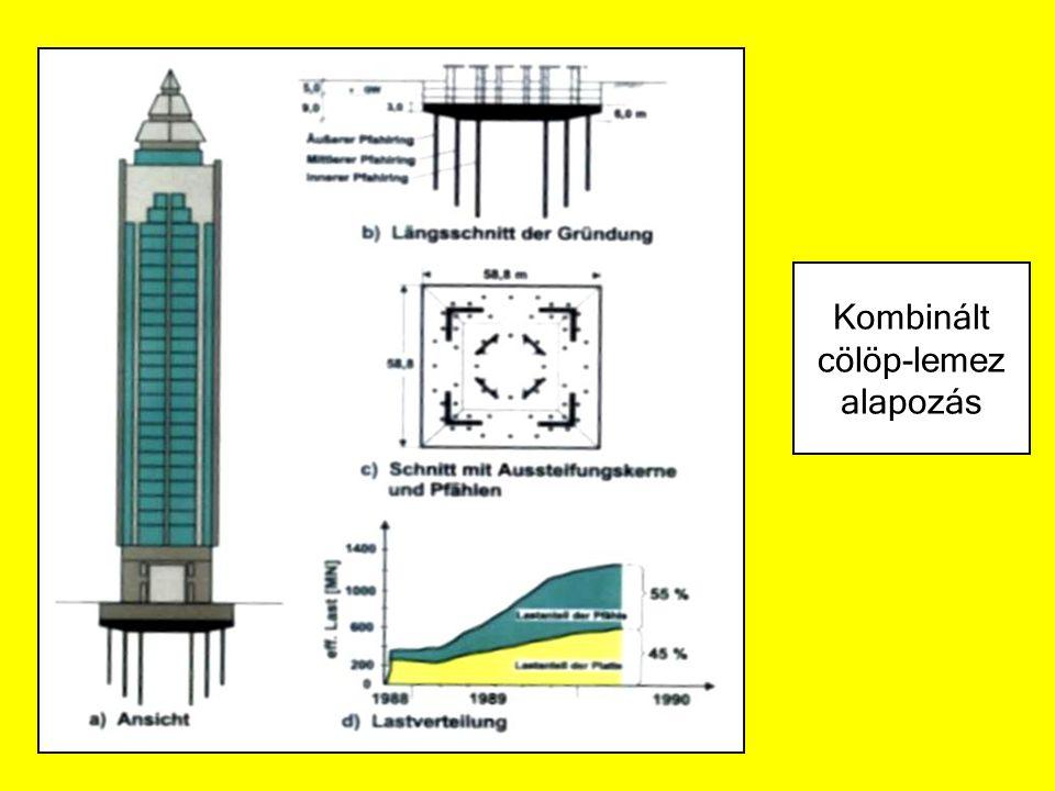 Méretek, mérettűrések Méretek –átmérő 0,3 ≤ D ≤ 3,0 m –szélesség w min ≥ 0,4 m –Hossz / szélesség méretarány L / w ≤ 6 –ferdeség n ≥ 6 –alapfelület A ≤ 10 m 2 –átmérőarányok D talp / D ≤ 2 szemcsés talaj D talp / D ≤ 3 kötött talaj D törzsmax / D ≤ 2 Mérettűrések –pontraállás hibája e ≤ 0,10 m ha D ≤ 1,0 m e ≤ 0,1*D ha 1,0 ≤ D ≤ 1,5 m e ≤ 0,15 m ha D ≥ 1,5 m – irányeltérés i ≤ 0,02 m/m ha n ≥ 15 i ≤ 0,04 m/m ha 4 ≤ n ≤ 15