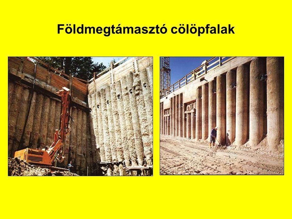 Fúrt cölöpök betonminősége Betonminőség:C20/25 – C30/37 Adalékanyag:d max ≤ 32 mm és betéttávolság/4 Cementtartalom:≥ 325 kg/m 3 (száraz betonozás) ≥ 375 kg/m 3 (víz alatti betonozás) Víz/cement tényező:v/c  0,6 Adalékanyag ≥ 400 kg/m 3 (ha d > 8 mm) d  0,125 mm +cement≥ 450 kg/m 3 (ha d ≤ 8 mm) Betonkonzisztencia460 ≤ Ø ≤ 530 (száraz betonozás) Terülési átmérő530 ≤ Ø ≤ 600 (szivattyú és víz alatt) 570 ≤ Ø ≤630 (betonozás zagy alatt)