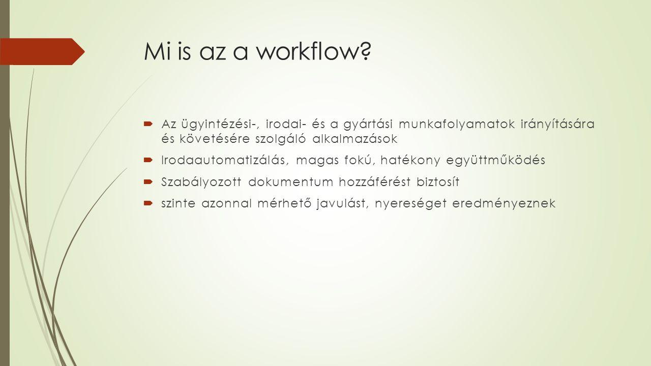 Mi is az a workflow?  Az ügyintézési-, irodai- és a gyártási munkafolyamatok irányítására és követésére szolgáló alkalmazások  Irodaautomatizálás, m