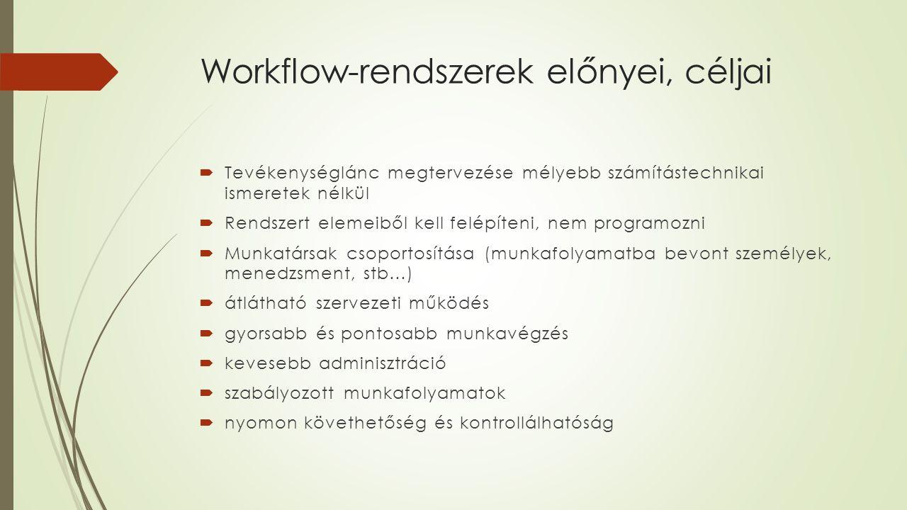 Workflow-rendszerek előnyei, céljai  Tevékenységlánc megtervezése mélyebb számítástechnikai ismeretek nélkül  Rendszert elemeiből kell felépíteni, n