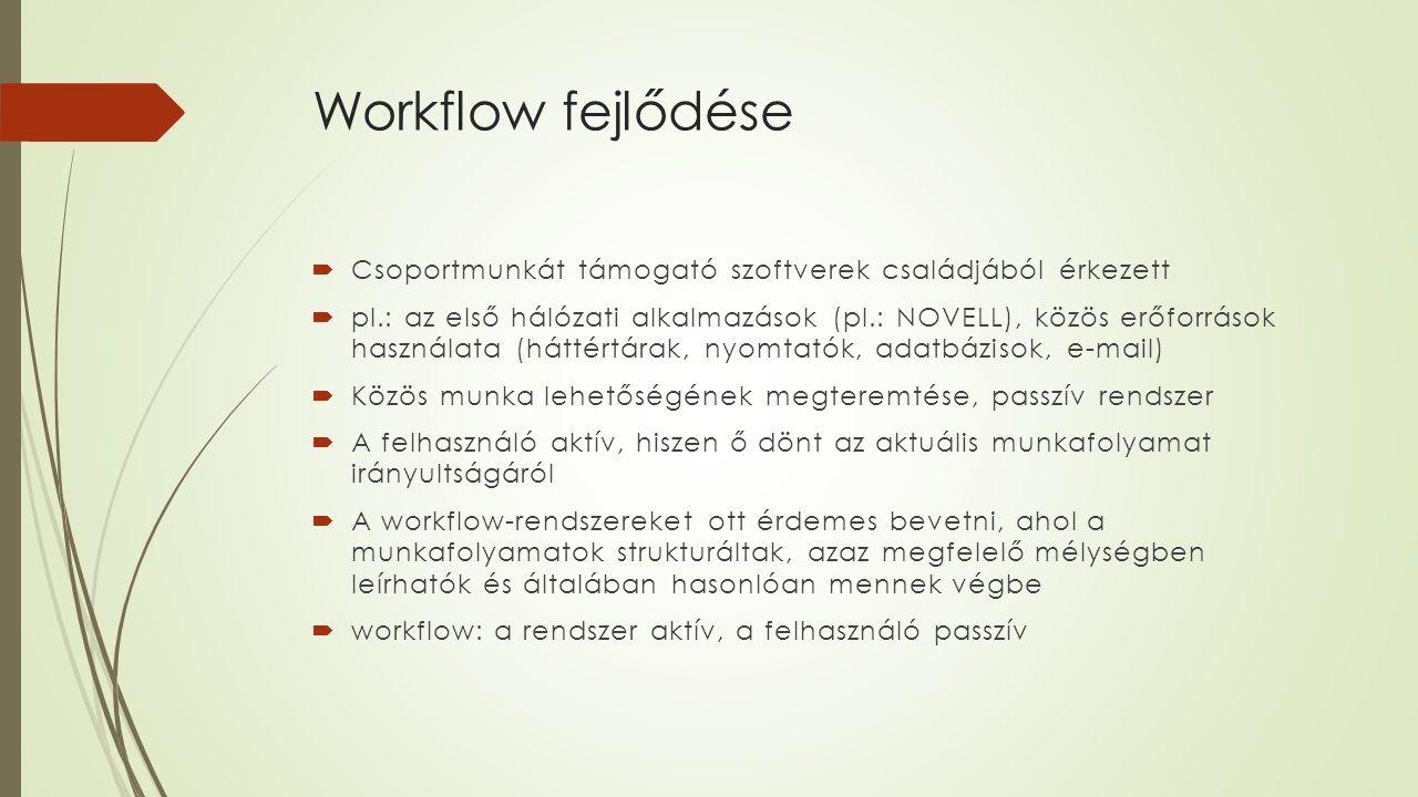 Workflow fejlődése  Csoportmunkát támogató szoftverek családjából érkezett  pl.: az első hálózati alkalmazások (pl.: NOVELL), közös erőforrások hasz