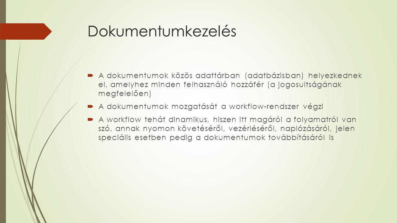 Dokumentumkezelés  A dokumentumok közös adattárban (adatbázisban) helyezkednek el, amelyhez minden felhasználó hozzáfér (a jogosultságának megfelelőe