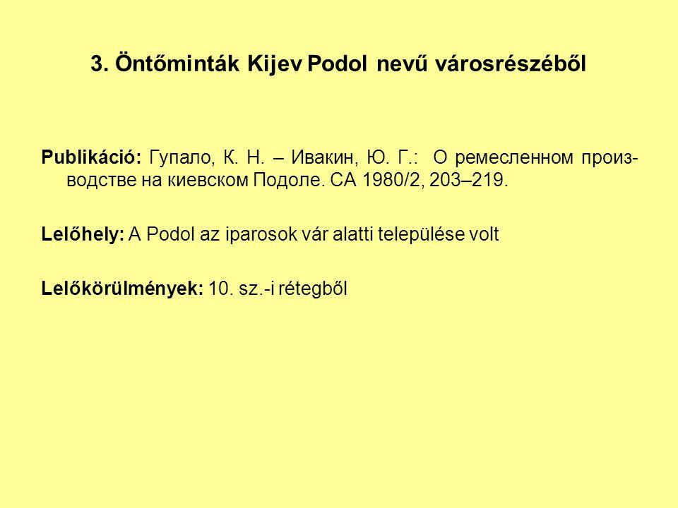 3.Öntőminták Kijev Podol nevű városrészéből Publikáció: Гупало, К.