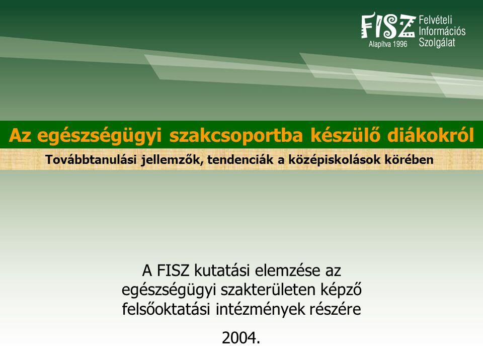 Az egészségügyi szakcsoportba készülő diákokról A FISZ kutatási elemzése az egészségügyi szakterületen képző felsőoktatási intézmények részére 2004.