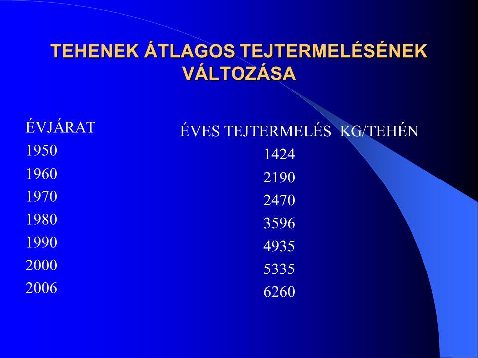TEHENEK ÁTLAGOS TEJTERMELÉSÉNEK VÁLTOZÁSA ÉVJÁRAT 1950 1960 1970 1980 1990 2000 2006 ÉVES TEJTERMELÉS KG/TEHÉN 1424 2190 2470 3596 4935 5335 6260