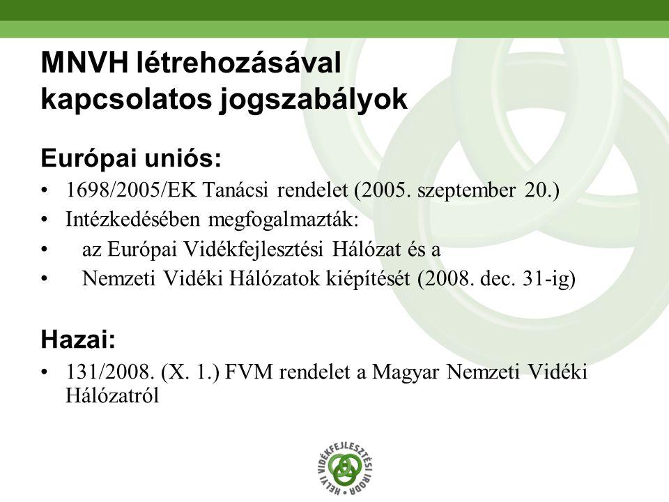 2 MNVH létrehozásával kapcsolatos jogszabályok Európai uniós: 1698/2005/EK Tanácsi rendelet (2005.