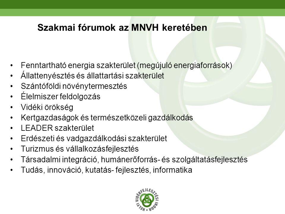 7 Szakmai fórumok az MNVH keretében Fenntartható energia szakterület (megújuló energiaforrások) Állattenyésztés és állattartási szakterület Szántóföldi növénytermesztés Élelmiszer feldolgozás Vidéki örökség Kertgazdaságok és természetközeli gazdálkodás LEADER szakterület Erdészeti és vadgazdálkodási szakterület Turizmus és vállalkozásfejlesztés Társadalmi integráció, humánerőforrás- és szolgáltatásfejlesztés Tudás, innováció, kutatás- fejlesztés, informatika