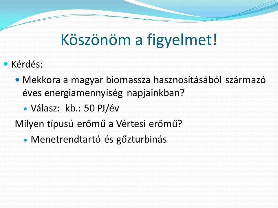 Köszönöm a figyelmet! Kérdés: Mekkora a magyar biomassza hasznosításából származó éves energiamennyiség napjainkban? Válasz: kb.: 50 PJ/év Milyen típu