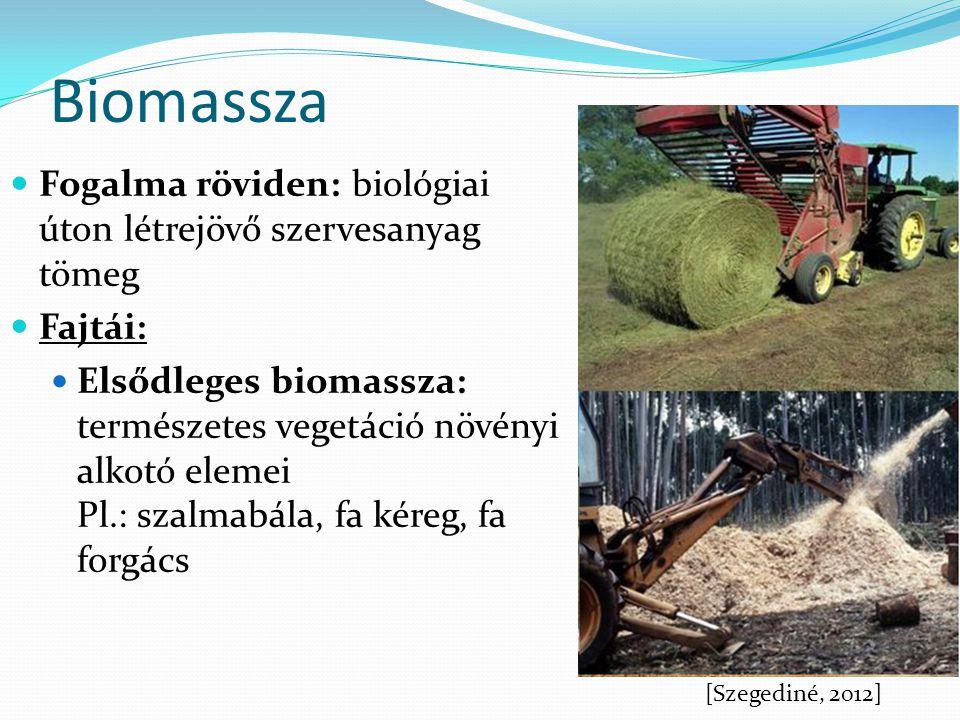 Biomassza Fogalma röviden: biológiai úton létrejövő szervesanyag tömeg Fajtái: Elsődleges biomassza: természetes vegetáció növényi alkotó elemei Pl.:
