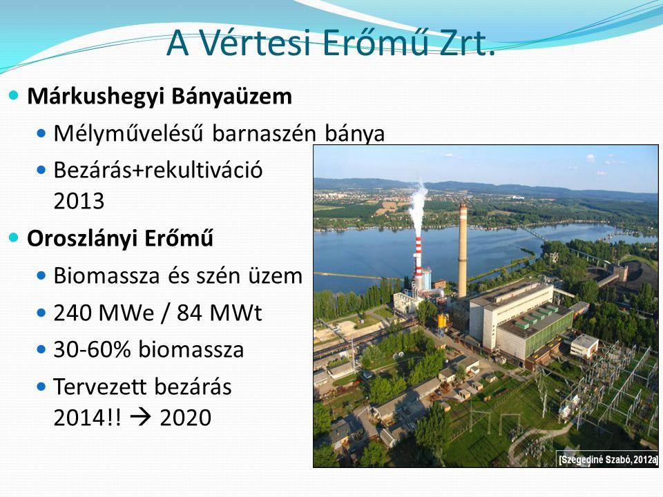 A Vértesi Erőmű Zrt. Márkushegyi Bányaüzem Mélyművelésű barnaszén bánya Bezárás+rekultiváció 2013 Oroszlányi Erőmű Biomassza és szén üzem 240 MWe / 84