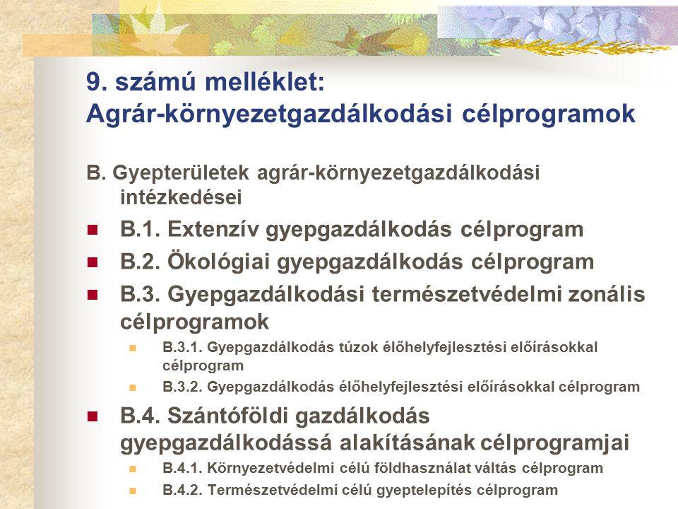 9. számú melléklet: Agrár-környezetgazdálkodási célprogramok B.