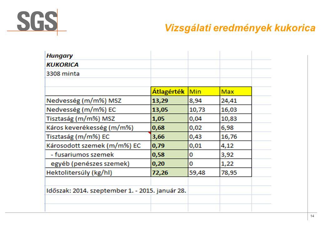 14 Vizsgálati eredmények kukorica