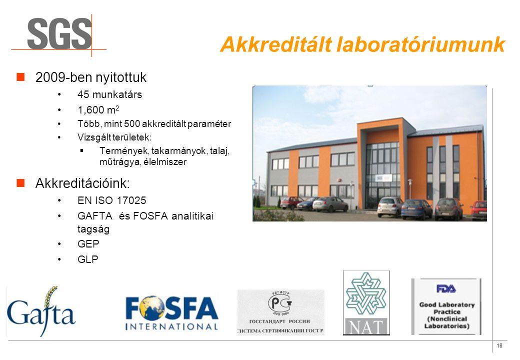 18 Akkreditált laboratóriumunk 2009-ben nyitottuk 45 munkatárs 1,600 m 2 Több, mint 500 akkreditált paraméter Vizsgált területek:  Termények, takarmá