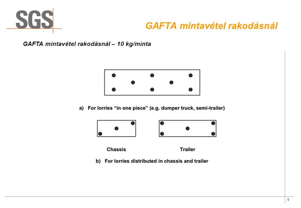 6 GAFTA mintavétel rakodásnál GAFTA mintavétel rakodásnál – 10 kg/minta