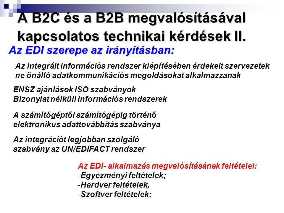A B2C és a B2B megvalósításával kapcsolatos technikai kérdések II.