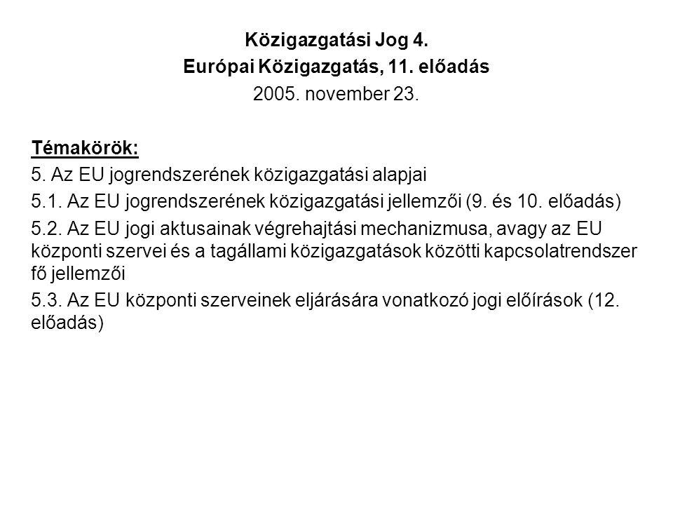 Közigazgatási Jog 4. Európai Közigazgatás, 11. előadás 2005.