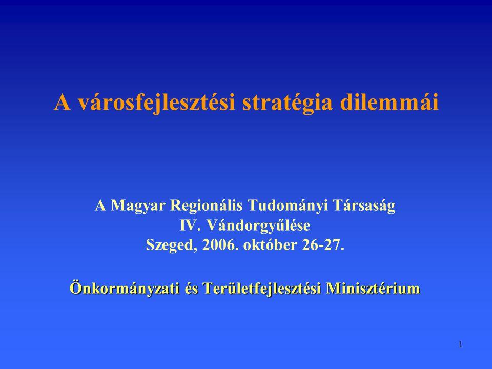 1 A városfejlesztési stratégia dilemmái A Magyar Regionális Tudományi Társaság IV. Vándorgyűlése Szeged, 2006. október 26-27. Önkormányzati és Terület