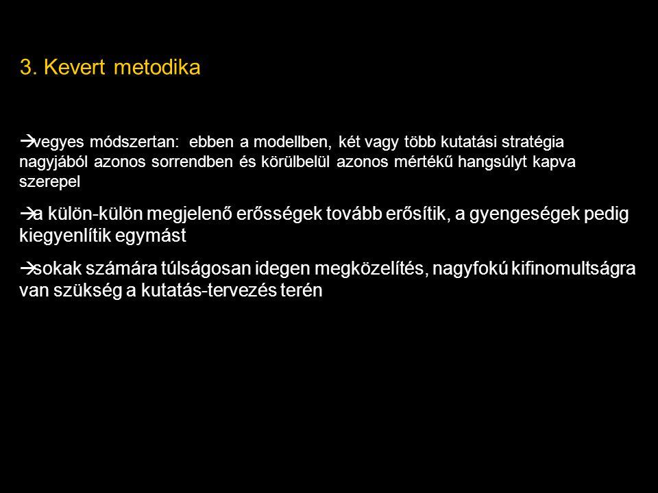 3. Kevert metodika  vegyes módszertan: ebben a modellben, két vagy több kutatási stratégia nagyjából azonos sorrendben és körülbelül azonos mértékű h