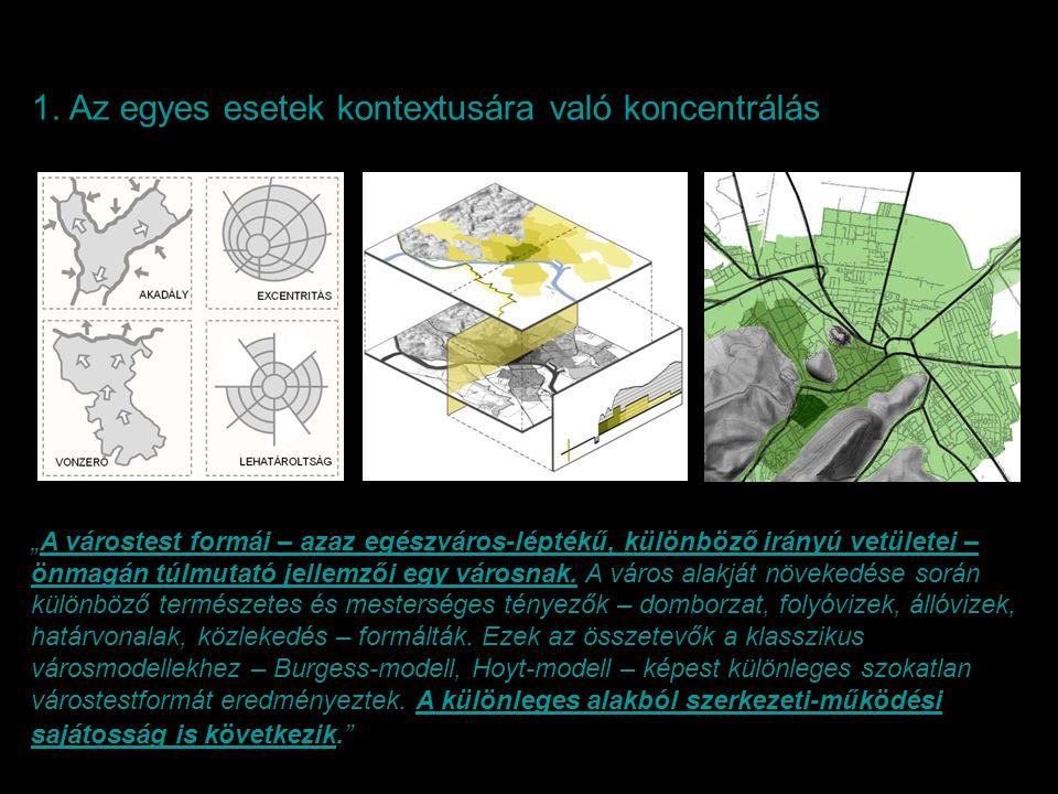 """1. Az egyes esetek kontextusára való koncentrálás """"A várostest formái – azaz egészváros-léptékű, különböző irányú vetületei – önmagán túlmutató jellem"""