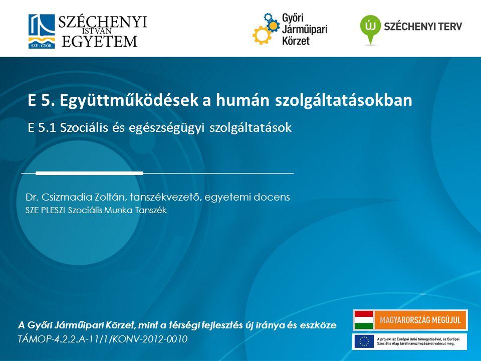 Dr. Csizmadia Zoltán, tanszékvezető, egyetemi docens SZE PLESZI Szociális Munka Tanszék E 5. Együttműködések a humán szolgáltatásokban E 5.1 Szociális