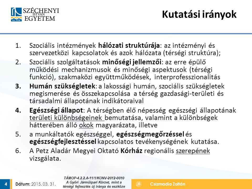 Dátum: 2015. 03. 31. 4Csizmadia Zoltán 1.Szociális intézmények hálózati struktúrája: az intézményi és szervezetközi kapcsolatok és azok hálózata (térs