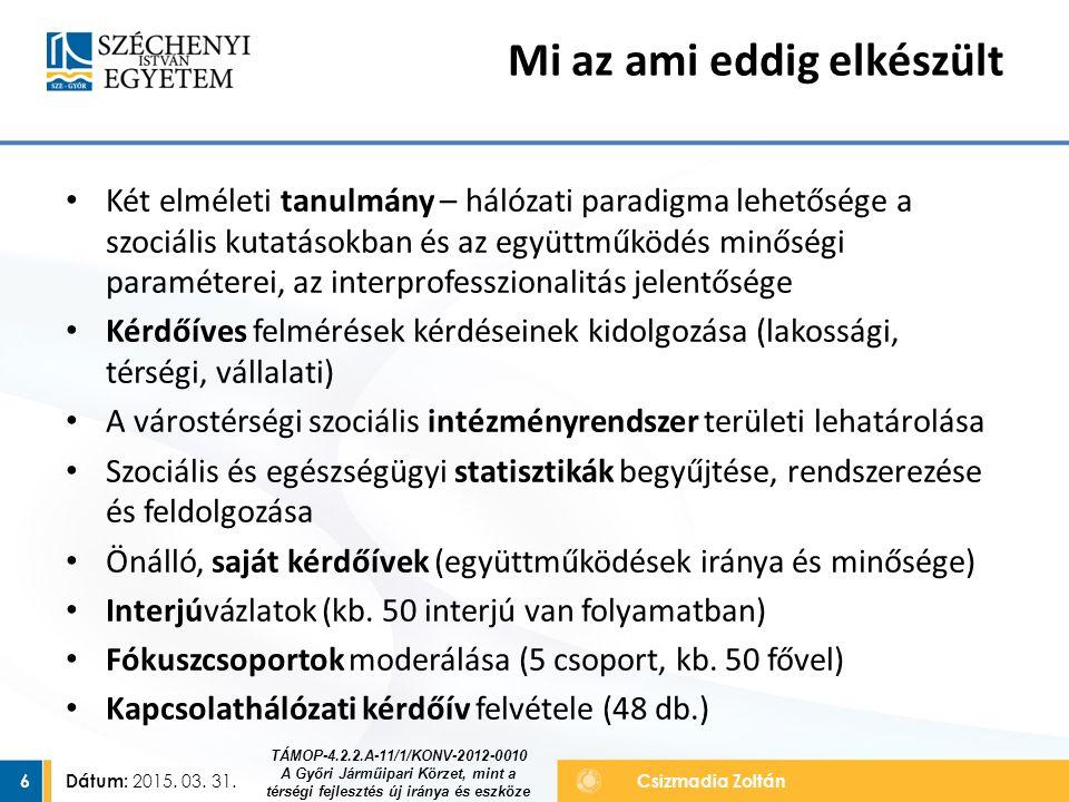 Dátum: 2015. 03. 31. 6Csizmadia Zoltán Két elméleti tanulmány – hálózati paradigma lehetősége a szociális kutatásokban és az együttműködés minőségi pa