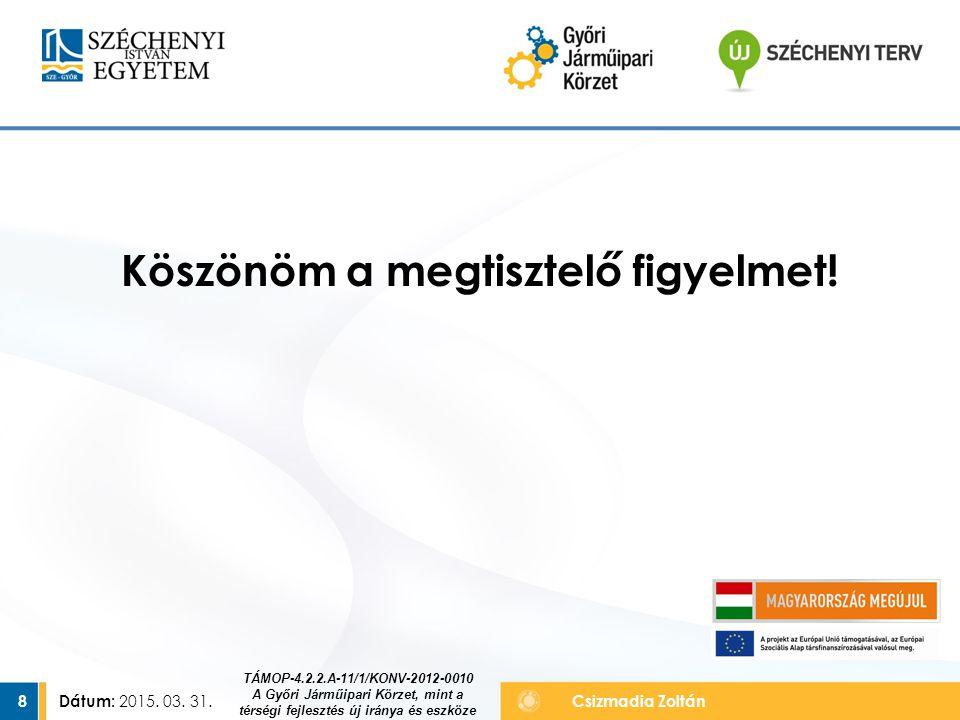 Dátum: 2015. 03. 31. 8Csizmadia Zoltán Köszönöm a megtisztelő figyelmet! TÁMOP-4.2.2.A-11/1/KONV-2012-0010 A Győri Járműipari Körzet, mint a térségi f