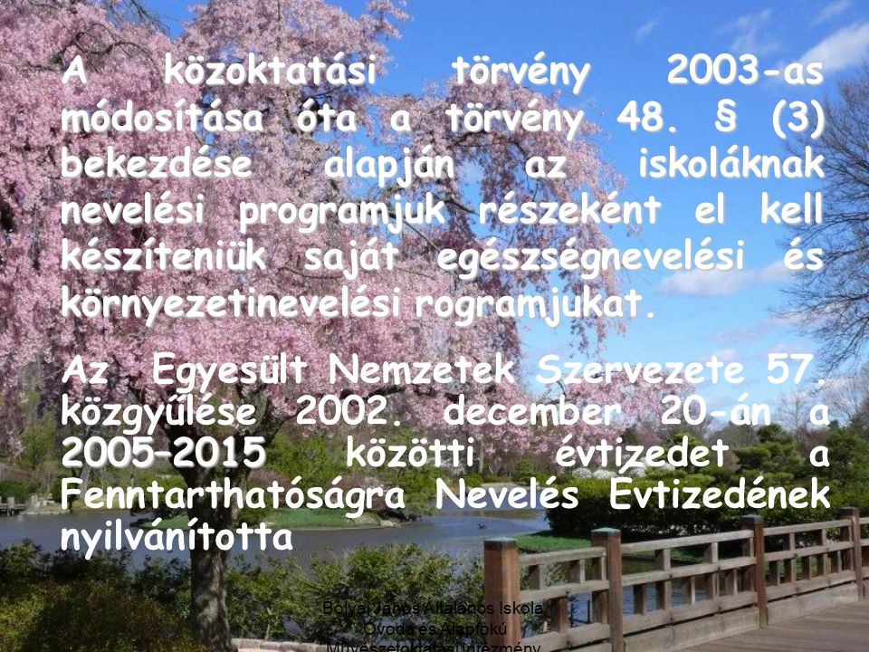 Bolyai János Általános Iskola, Óvoda és Alapfokú Művészetoktatási Intézmény, Debrecen A közoktatási törvény 2003-as módosítása óta a törvény 48.