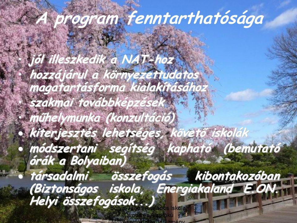 Bolyai János Általános Iskola, Óvoda és Alapfokú Művészetoktatási Intézmény, Debrecen A program fenntarthatósága jól illeszkedik a NAT-hozjól illeszkedik a NAT-hoz hozzájárul a környezettudatos magatartásforma kialakításáhozhozzájárul a környezettudatos magatartásforma kialakításához szakmai továbbképzésekszakmai továbbképzések műhelymunka (konzultáció)műhelymunka (konzultáció)  kiterjesztés lehetséges, követő iskolák  módszertani segítség kapható (bemutató órák a Bolyaiban)  társadalmi összefogás kibontakozóban (Biztonságos iskola, Energiakaland E.ON.