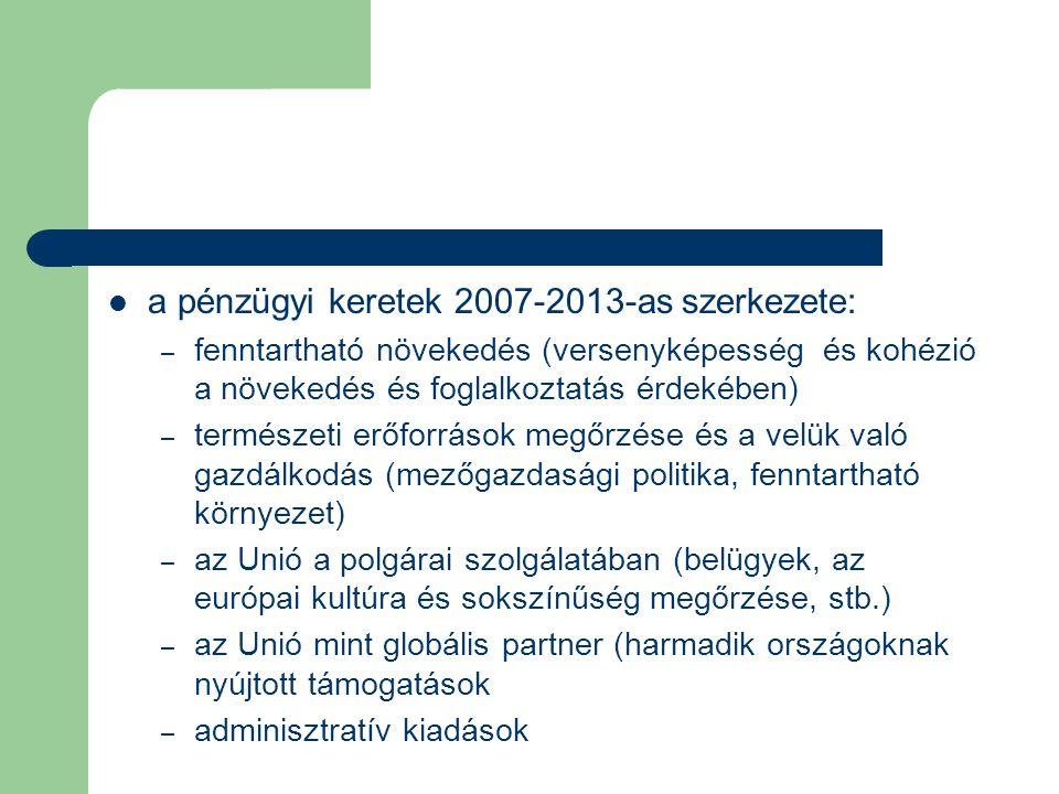 a pénzügyi keretek 2007-2013-as szerkezete: – fenntartható növekedés (versenyképesség és kohézió a növekedés és foglalkoztatás érdekében) – természeti erőforrások megőrzése és a velük való gazdálkodás (mezőgazdasági politika, fenntartható környezet) – az Unió a polgárai szolgálatában (belügyek, az európai kultúra és sokszínűség megőrzése, stb.) – az Unió mint globális partner (harmadik országoknak nyújtott támogatások – adminisztratív kiadások