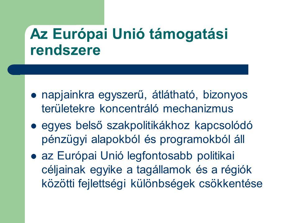 Az Európai Unió támogatási rendszere napjainkra egyszerű, átlátható, bizonyos területekre koncentráló mechanizmus egyes belső szakpolitikákhoz kapcsolódó pénzügyi alapokból és programokból áll az Európai Unió legfontosabb politikai céljainak egyike a tagállamok és a régiók közötti fejlettségi különbségek csökkentése