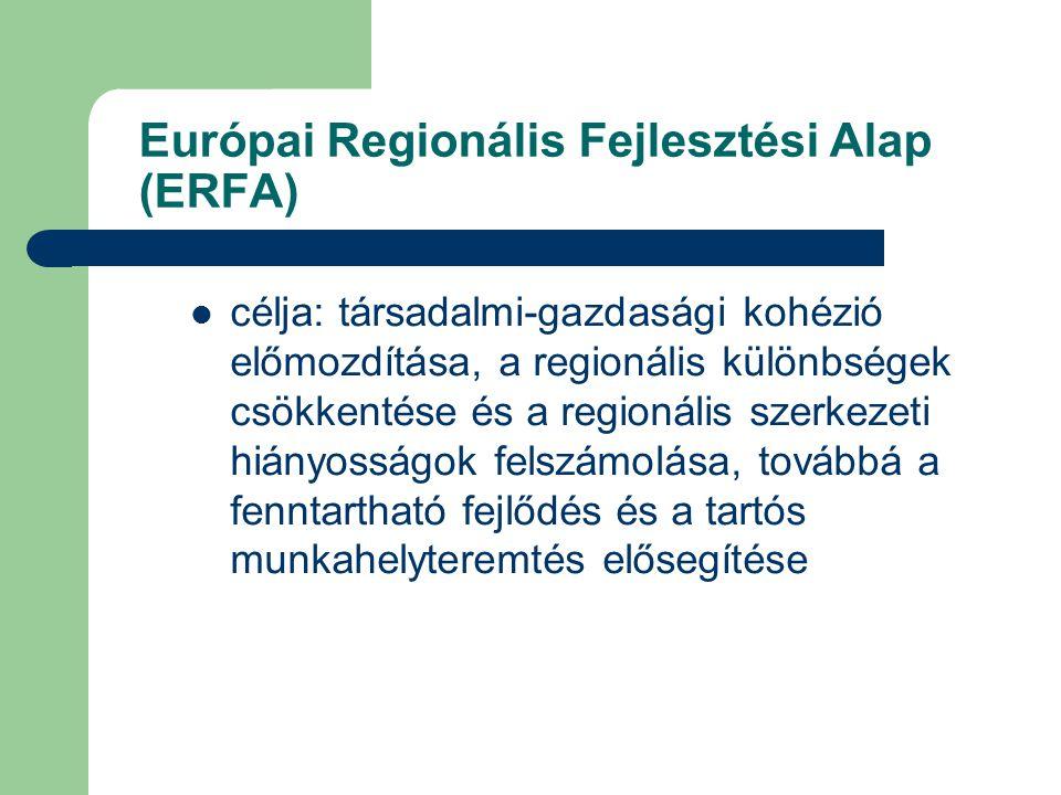 Európai Regionális Fejlesztési Alap (ERFA) célja: társadalmi-gazdasági kohézió előmozdítása, a regionális különbségek csökkentése és a regionális szerkezeti hiányosságok felszámolása, továbbá a fenntartható fejlődés és a tartós munkahelyteremtés elősegítése