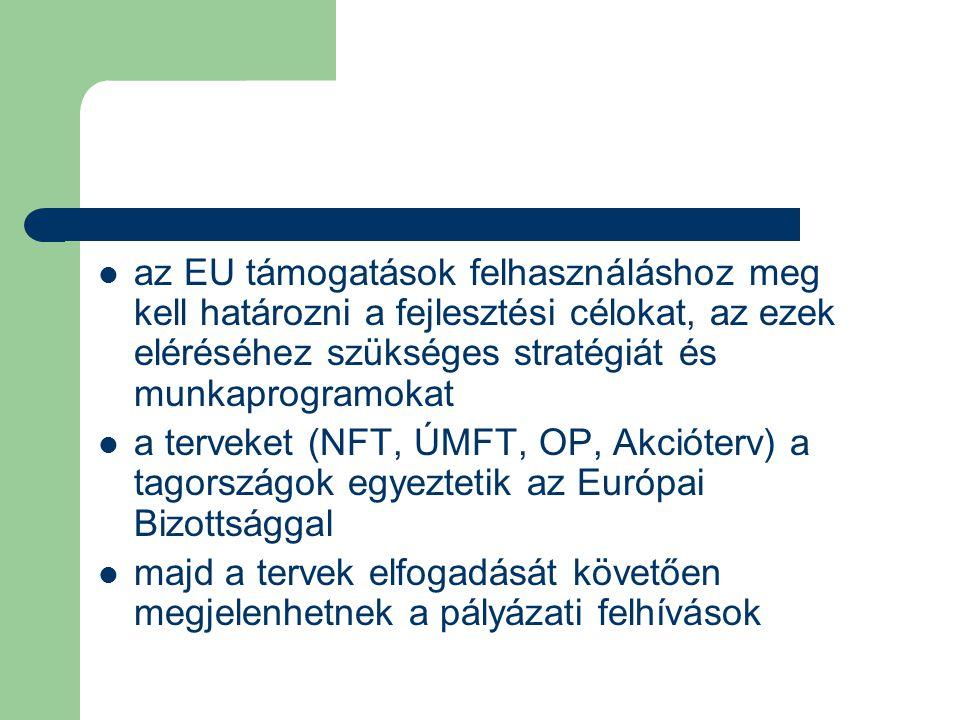 az EU támogatások felhasználáshoz meg kell határozni a fejlesztési célokat, az ezek eléréséhez szükséges stratégiát és munkaprogramokat a terveket (NFT, ÚMFT, OP, Akcióterv) a tagországok egyeztetik az Európai Bizottsággal majd a tervek elfogadását követően megjelenhetnek a pályázati felhívások
