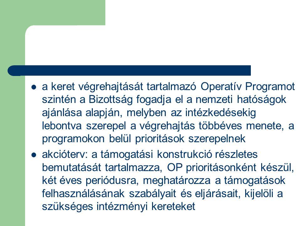 a keret végrehajtását tartalmazó Operatív Programot szintén a Bizottság fogadja el a nemzeti hatóságok ajánlása alapján, melyben az intézkedésekig lebontva szerepel a végrehajtás többéves menete, a programokon belül prioritások szerepelnek akcióterv: a támogatási konstrukció részletes bemutatását tartalmazza, OP prioritásonként készül, két éves periódusra, meghatározza a támogatások felhasználásának szabályait és eljárásait, kijelöli a szükséges intézményi kereteket