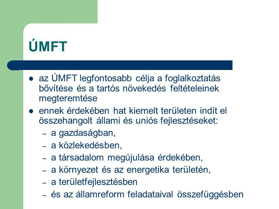 ÚMFT az ÚMFT legfontosabb célja a foglalkoztatás bővítése és a tartós növekedés feltételeinek megteremtése ennek érdekében hat kiemelt területen indít el összehangolt állami és uniós fejlesztéseket: – a gazdaságban, – a közlekedésben, – a társadalom megújulása érdekében, – a környezet és az energetika területén, – a területfejlesztésben – és az államreform feladataival összefüggésben