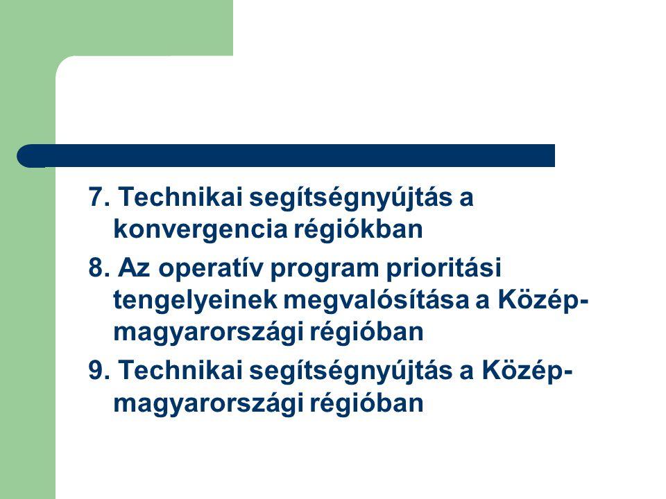 7.Technikai segítségnyújtás a konvergencia régiókban 8.