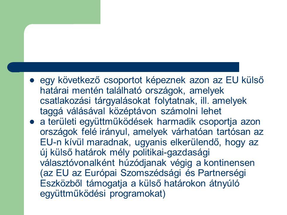 egy következő csoportot képeznek azon az EU külső határai mentén található országok, amelyek csatlakozási tárgyalásokat folytatnak, ill.
