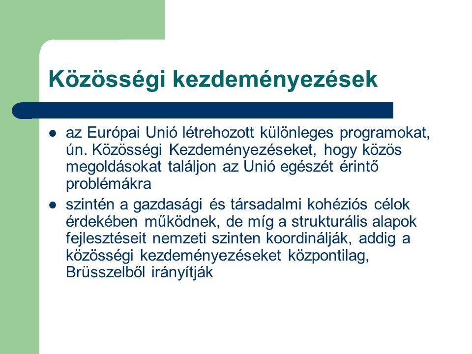 Közösségi kezdeményezések az Európai Unió létrehozott különleges programokat, ún.