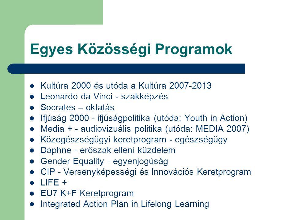 Egyes Közösségi Programok Kultúra 2000 és utóda a Kultúra 2007-2013 Leonardo da Vinci - szakképzés Socrates – oktatás Ifjúság 2000 - ifjúságpolitika (utóda: Youth in Action) Media + - audiovizuális politika (utóda: MEDIA 2007) Közegészségügyi keretprogram - egészségügy Daphne - erőszak elleni küzdelem Gender Equality - egyenjogúság CIP - Versenyképességi és Innovációs Keretprogram LIFE + EU7 K+F Keretprogram Integrated Action Plan in Lifelong Learning