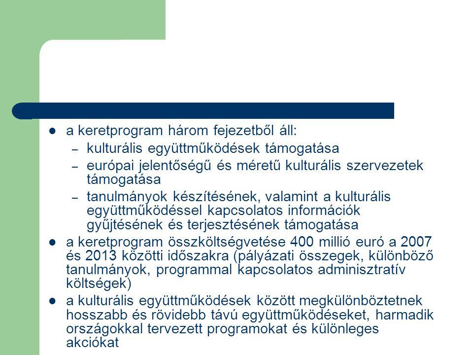 a keretprogram három fejezetből áll: – kulturális együttműködések támogatása – európai jelentőségű és méretű kulturális szervezetek támogatása – tanulmányok készítésének, valamint a kulturális együttműködéssel kapcsolatos információk gyűjtésének és terjesztésének támogatása a keretprogram összköltségvetése 400 millió euró a 2007 és 2013 közötti időszakra (pályázati összegek, különböző tanulmányok, programmal kapcsolatos adminisztratív költségek) a kulturális együttműködések között megkülönböztetnek hosszabb és rövidebb távú együttműködéseket, harmadik országokkal tervezett programokat és különleges akciókat