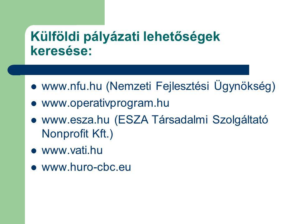 Külföldi pályázati lehetőségek keresése: www.nfu.hu (Nemzeti Fejlesztési Ügynökség) www.operativprogram.hu www.esza.hu (ESZA Társadalmi Szolgáltató Nonprofit Kft.) www.vati.hu www.huro-cbc.eu
