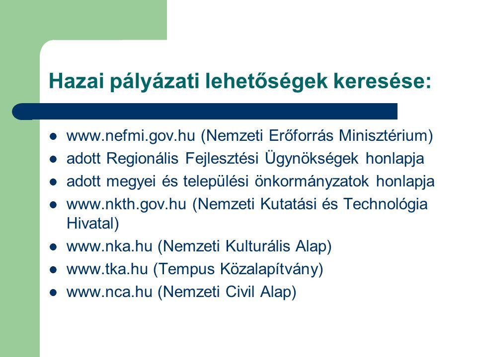 Hazai pályázati lehetőségek keresése: www.nefmi.gov.hu (Nemzeti Erőforrás Minisztérium) adott Regionális Fejlesztési Ügynökségek honlapja adott megyei és települési önkormányzatok honlapja www.nkth.gov.hu (Nemzeti Kutatási és Technológia Hivatal) www.nka.hu (Nemzeti Kulturális Alap) www.tka.hu (Tempus Közalapítvány) www.nca.hu (Nemzeti Civil Alap)