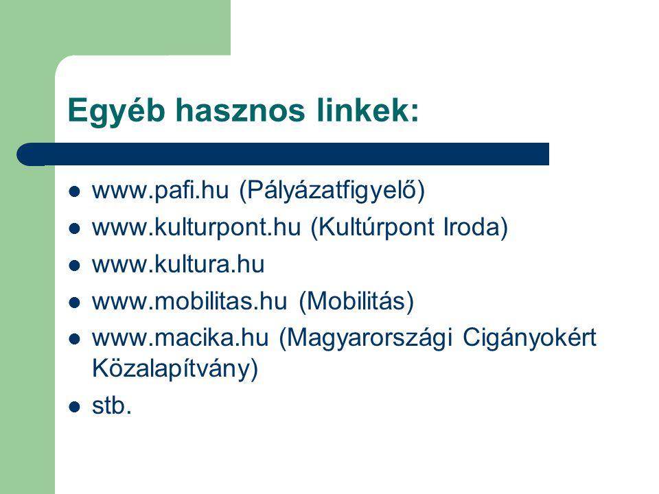 Egyéb hasznos linkek: www.pafi.hu (Pályázatfigyelő) www.kulturpont.hu (Kultúrpont Iroda) www.kultura.hu www.mobilitas.hu (Mobilitás) www.macika.hu (Magyarországi Cigányokért Közalapítvány) stb.