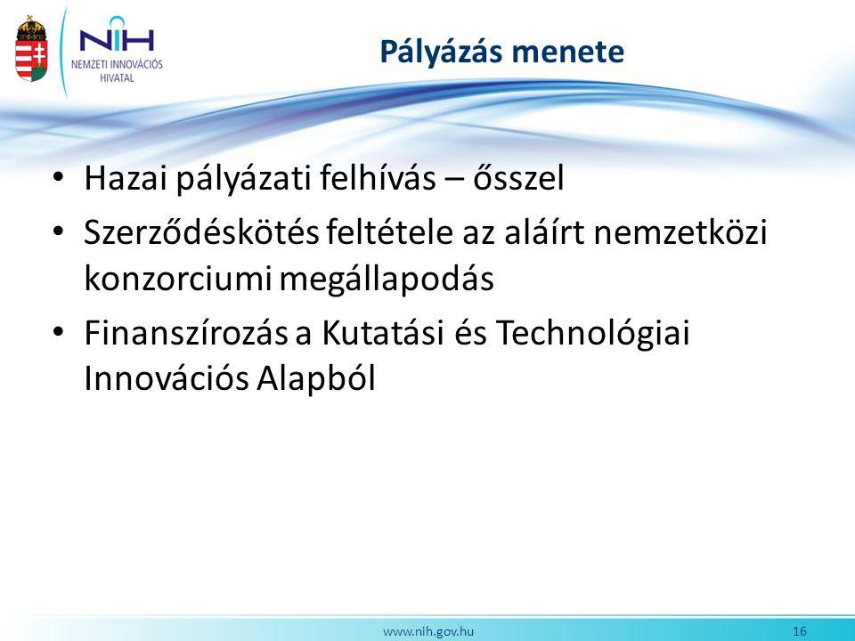 Pályázás menete Hazai pályázati felhívás – ősszel Szerződéskötés feltétele az aláírt nemzetközi konzorciumi megállapodás Finanszírozás a Kutatási és Technológiai Innovációs Alapból 16www.nih.gov.hu